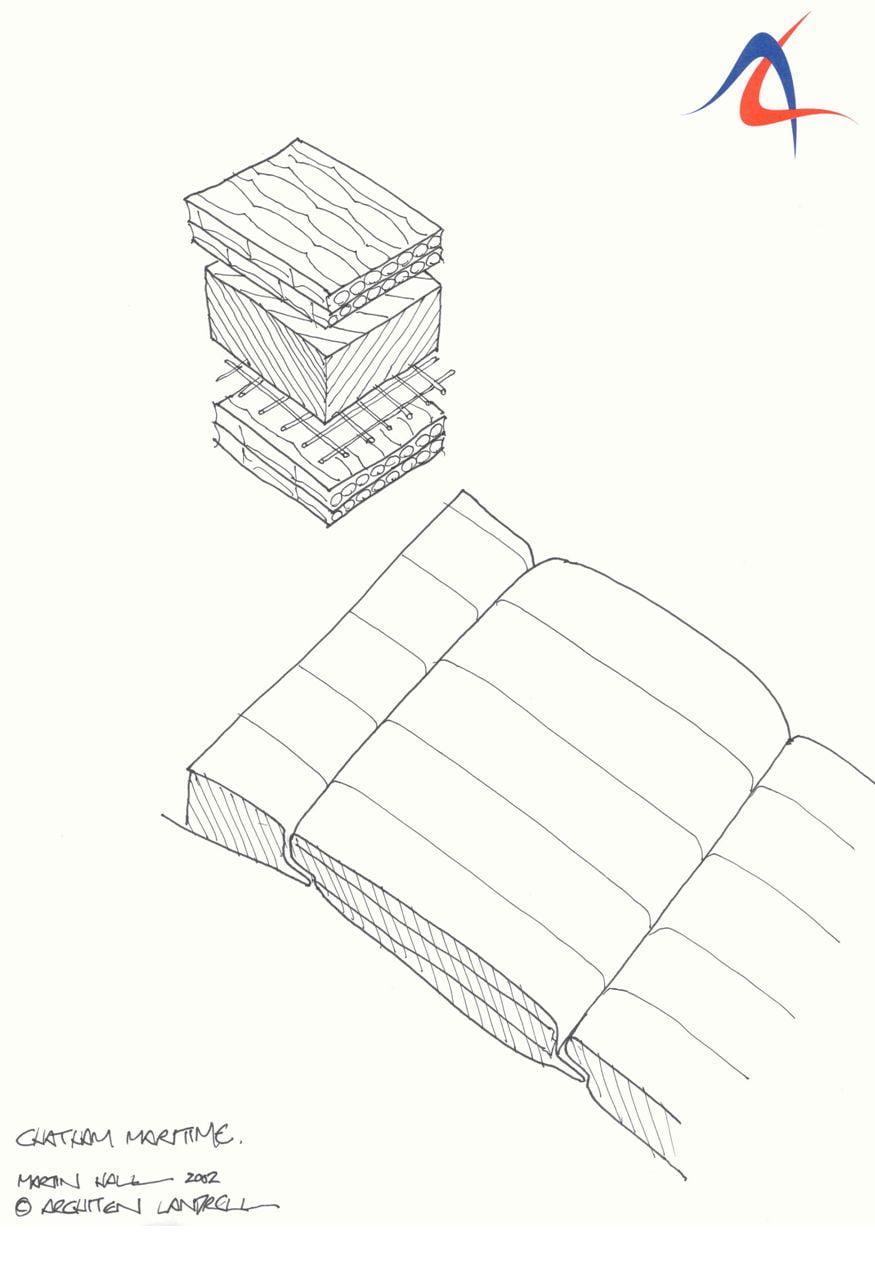 Phác thảo phần đệm cách nhiệt cho mái màng căng của dự án.