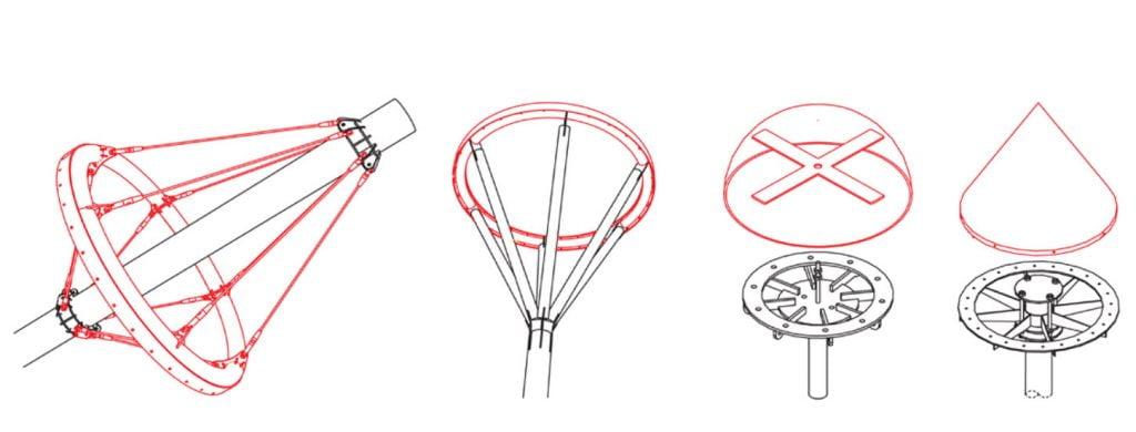 Chi tiết bạt căng kiến trúc- CT02 - Dạng Chóp Chi tiết bạt căng kiến trúc này sẽ xuất hiện trong những hình dạng chóp phễu, hướng lên trên hoặc xuống dưới. Bạt căng kiến trúc sẽ liên kết vào vòng kim loại được thiết kế khớp với lỗ tròn và cố định bằng bu lông hoặc chi tiết nẹp. Ở phía trên, chi tiết này còn có thể có thêm mũ chụp bằng kim loại theo thiết kế riêng theo yêu cầu về mặt thẩm mỹ, hoặc cho mục đích thông gió tự nhiên.