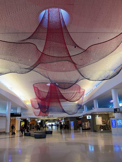 mái che bạt căng nội thất dạng lưới tạo hình