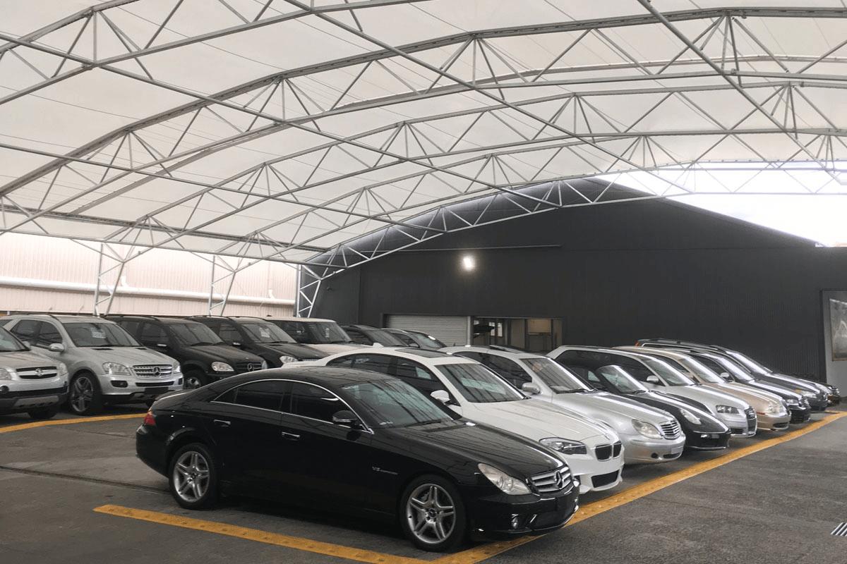 Tensile Fabric Vietnam - Car Parking Canopies Design and build - Thiết kế và thi công Mái che bạt căng nhà xe - Lorbek-Source Fabritecture